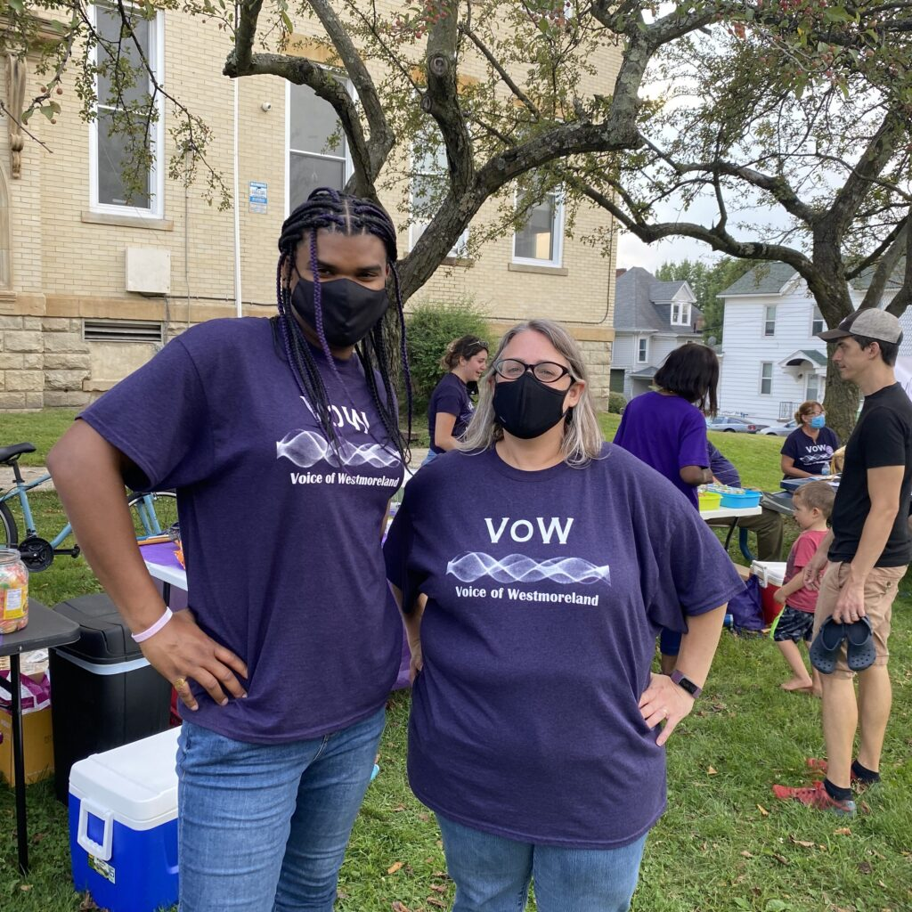 Yukie King and Ceil Kessler pose together at a VOW Block Party